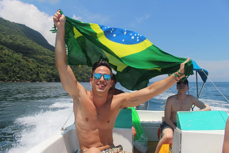 On a boat in Ihla Grande, Brazil