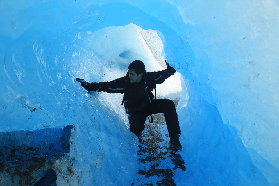 Inside a Tunel in Perito Moreno glacier